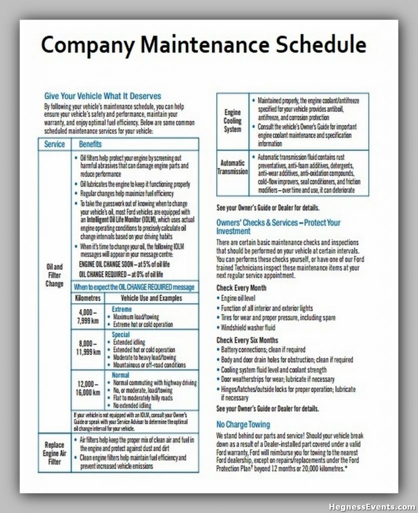 Company Maintenance Schedule Template