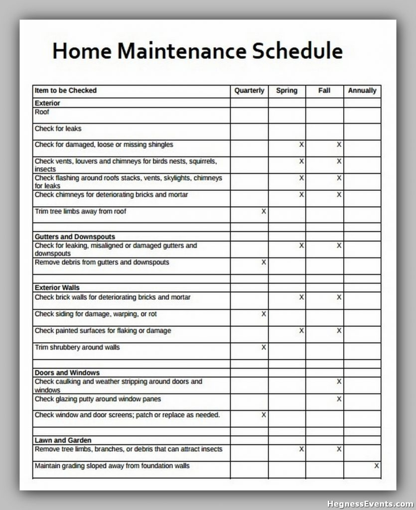 Household Maintenance Schedule Template