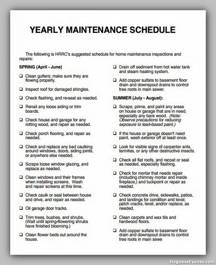 Yearly Maintenance Schedule Template
