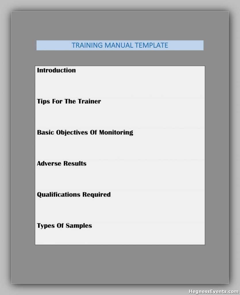 Training Manual Template Free 25