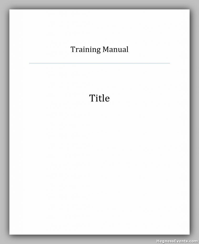 Training Manual Template Word 17
