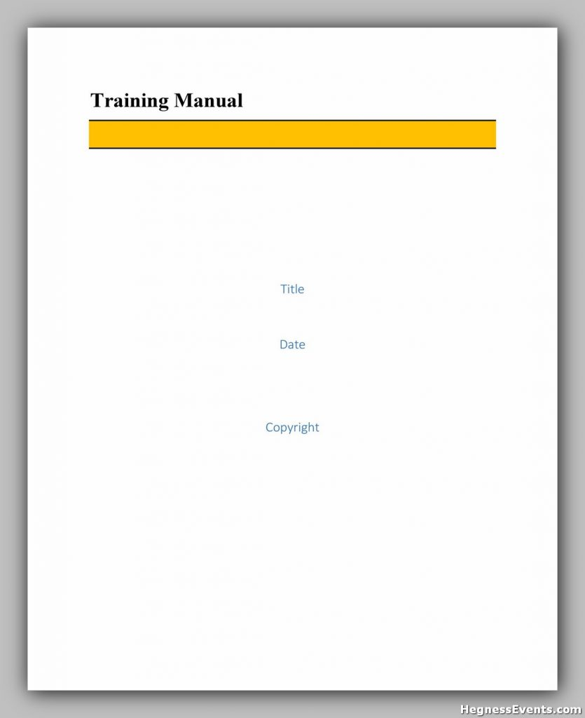 Training Manual Template Word 22