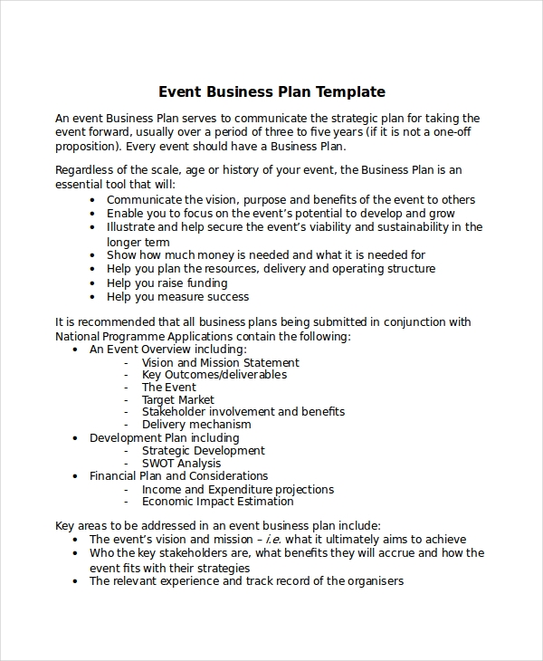 event business plan template