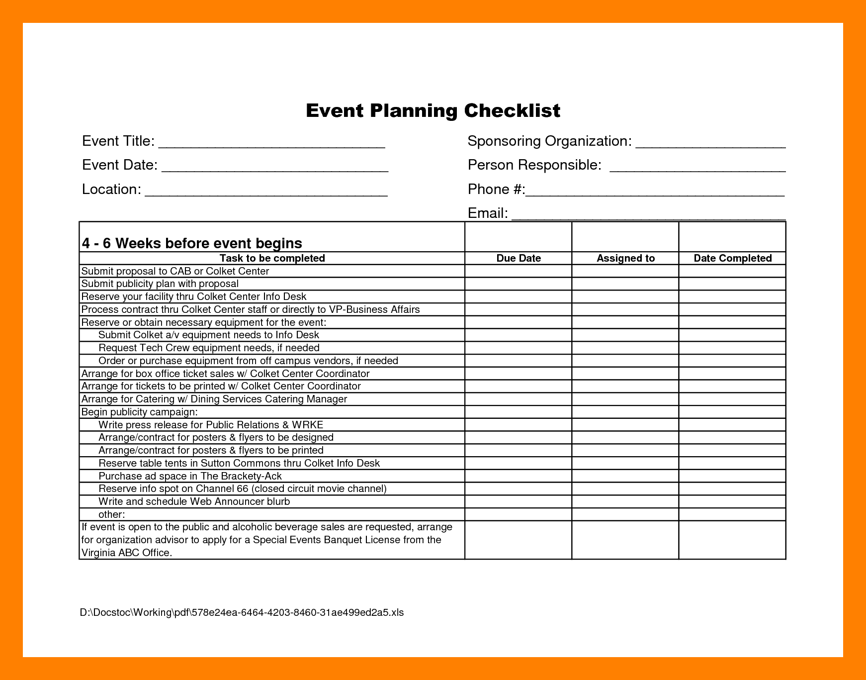 Template Ideas Free event Planning Templates Excel Plan Checklist