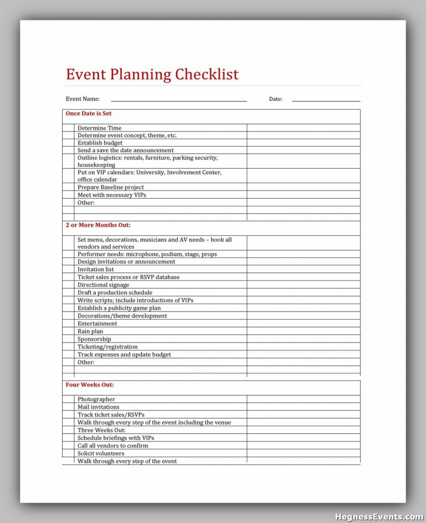 Event Planning Checklist Excel 45