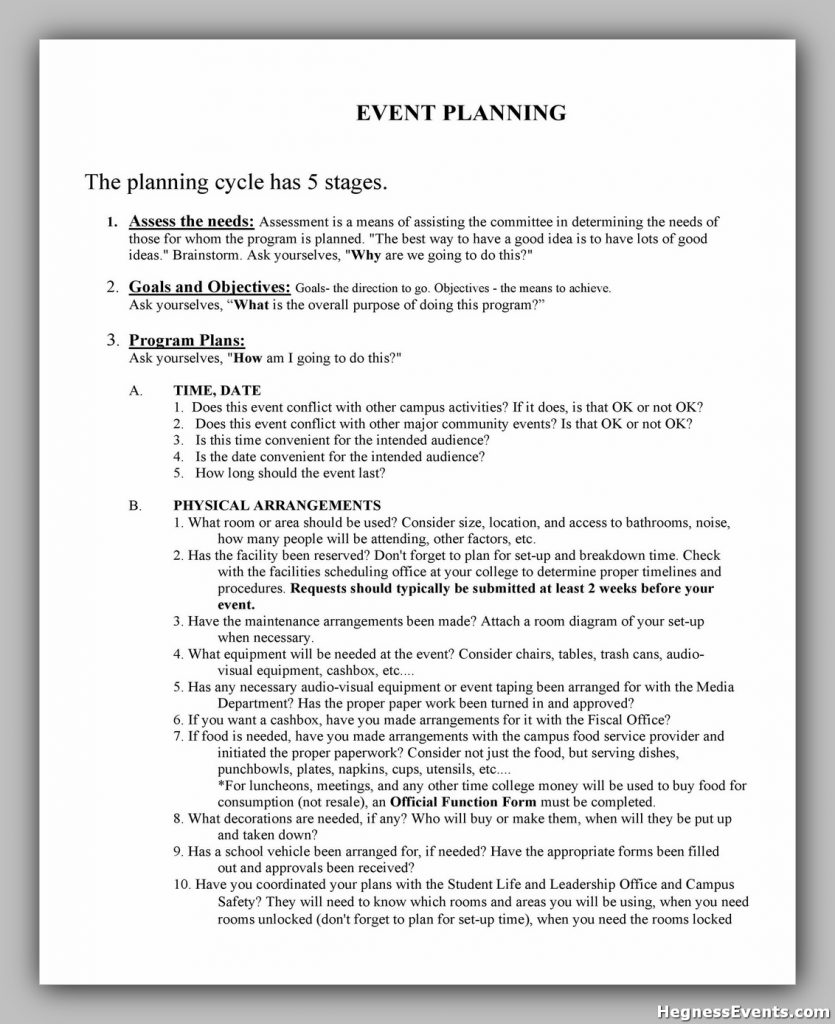 Event Planning Checklist Sample 33