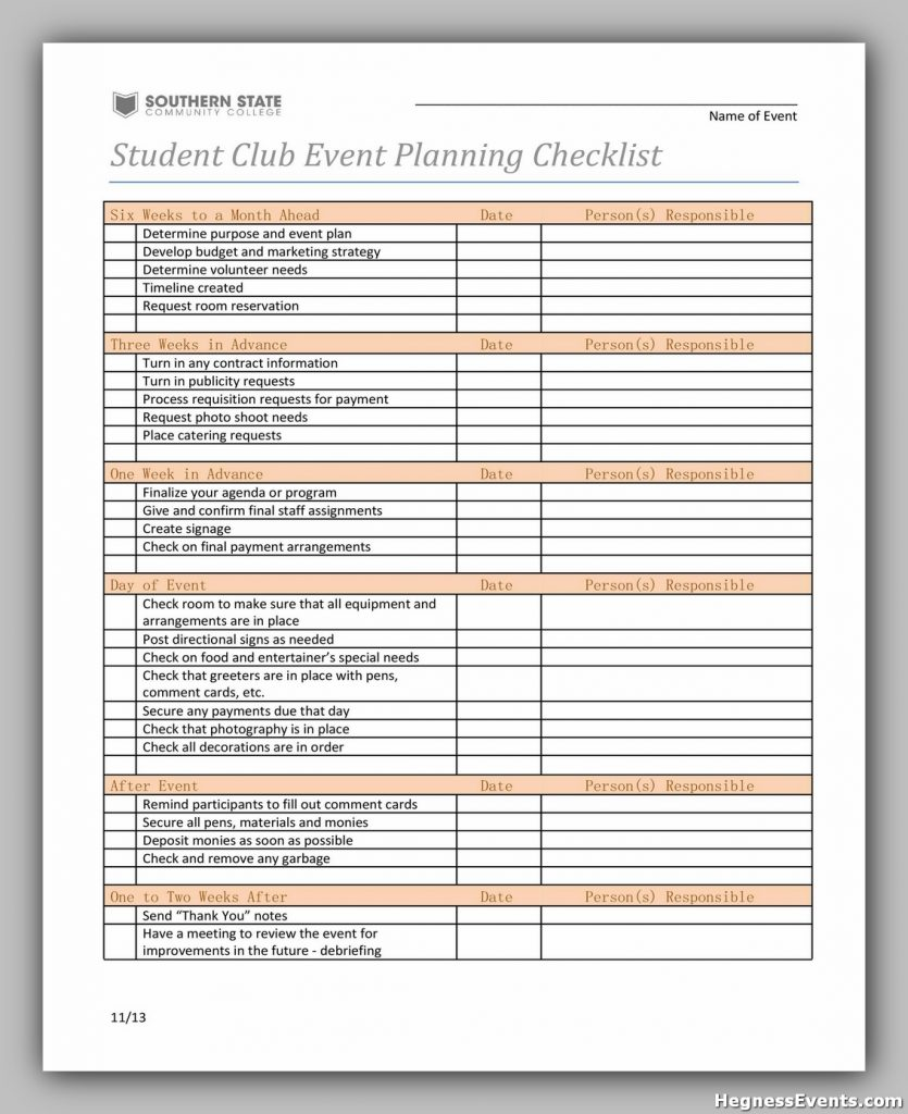 Event Planning Checklist Sample 36