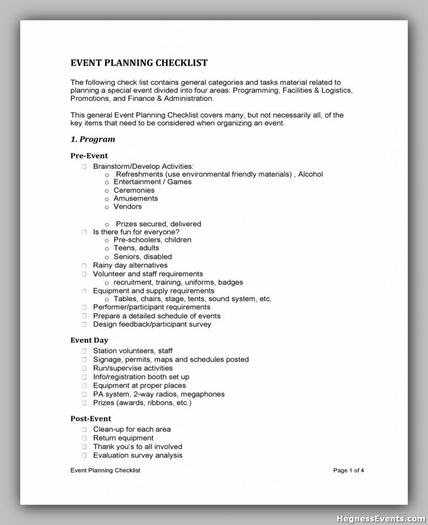 Event Planning Checklist Sample 37