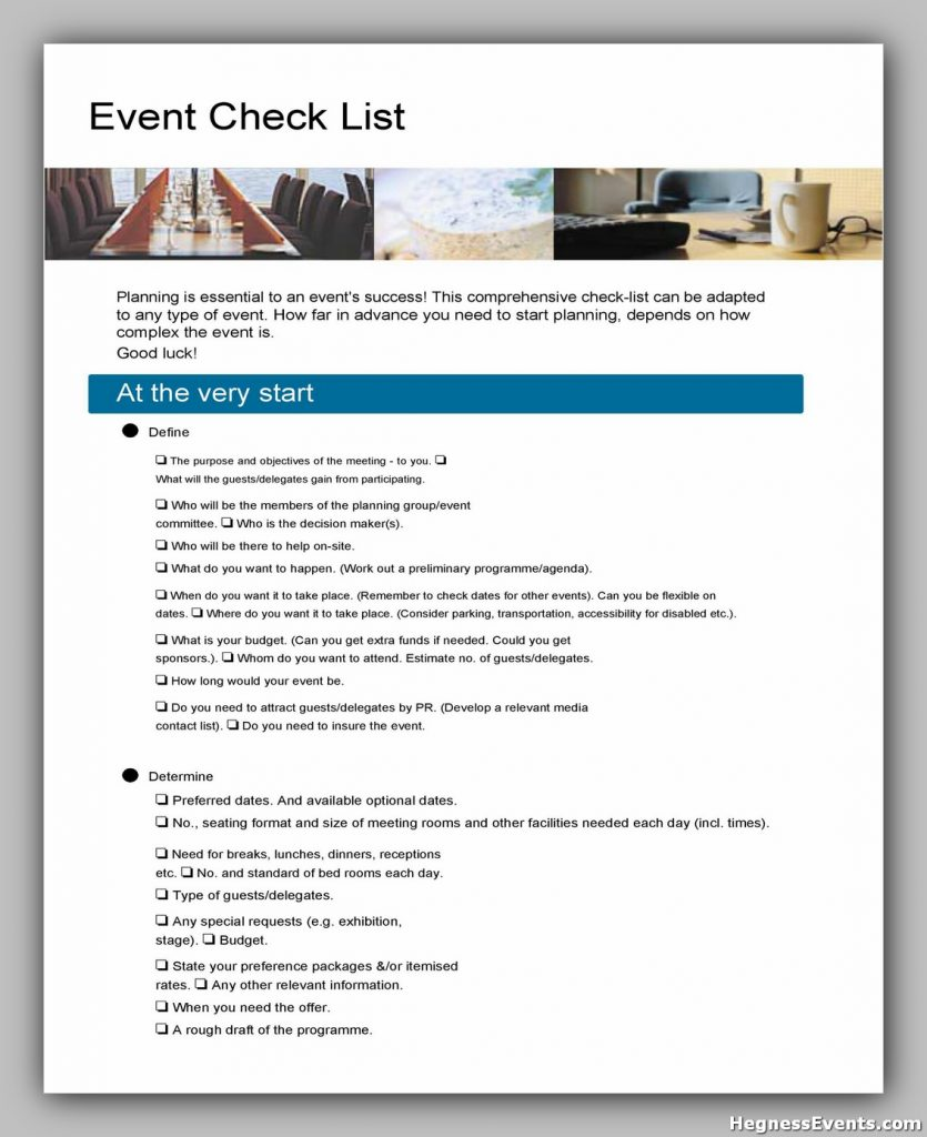 Event Planning Checklist Sample 38