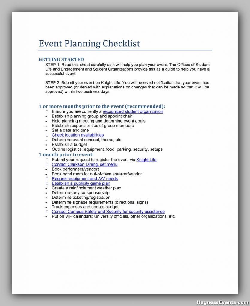 Event Planning Checklist Sample 40
