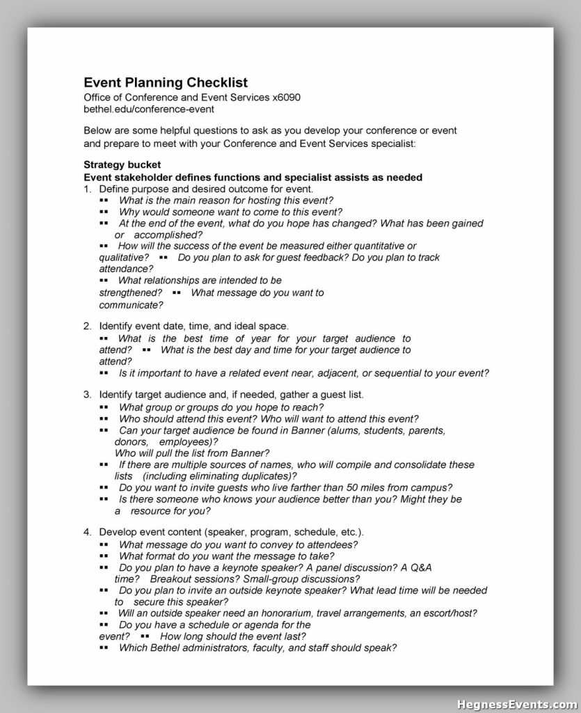 Event Planning Checklist Template 26