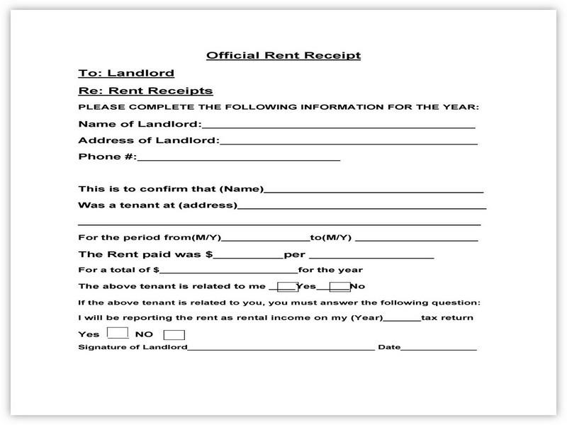 Rent Receipt Example 02