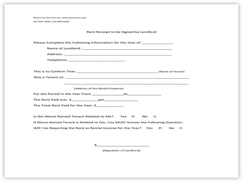 Rent Receipt Example 09
