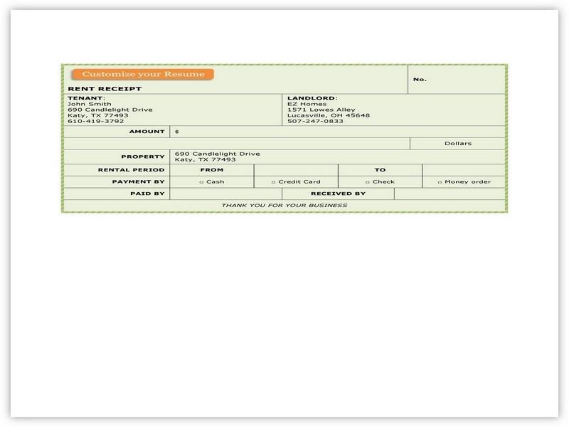Rent Receipt Format 03