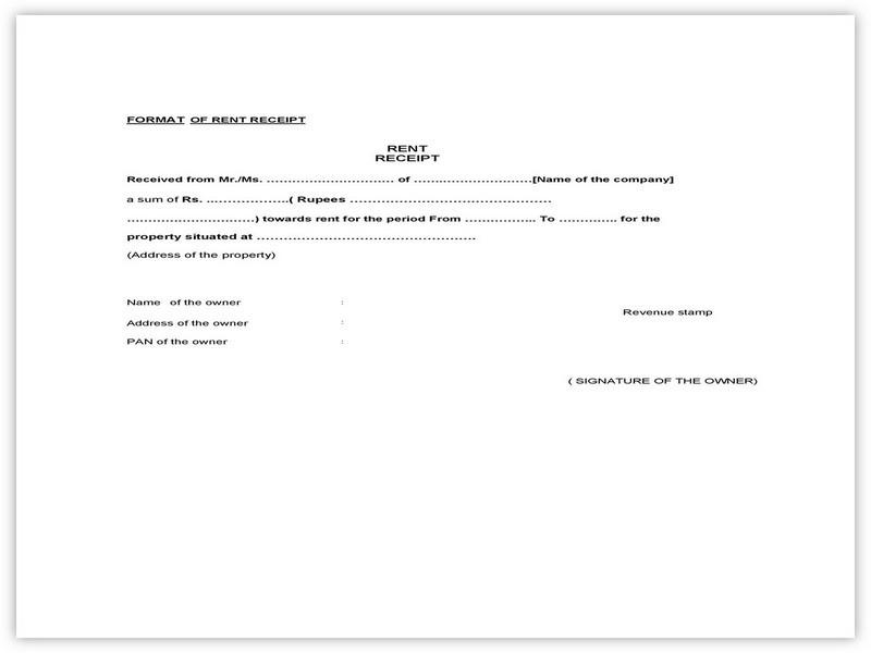 Rent Receipt Format 10