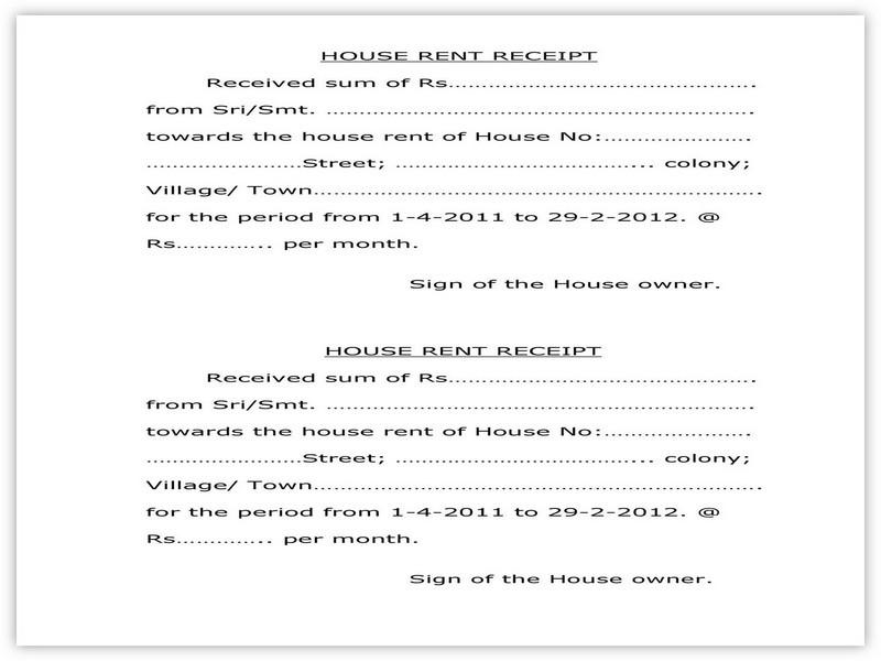 Rent Receipt Sample 01