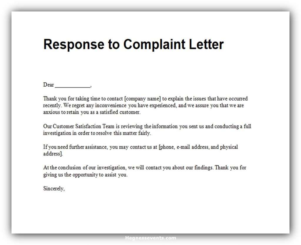 Response to complaint letter 02