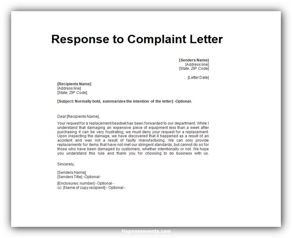 Response to complaint letter 03