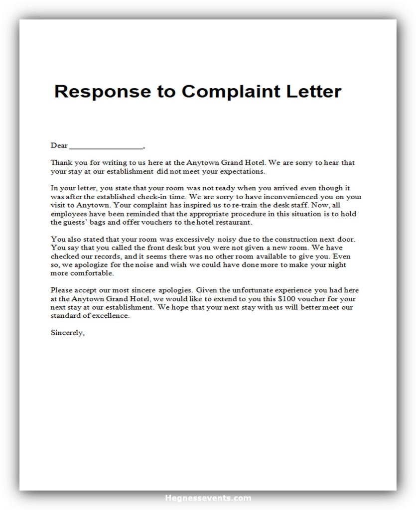 Response to complaint letter 05