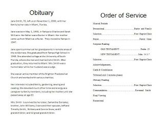 Free Funeral Obituary Template Download