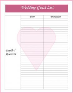 Blank Wedding Guest List Template