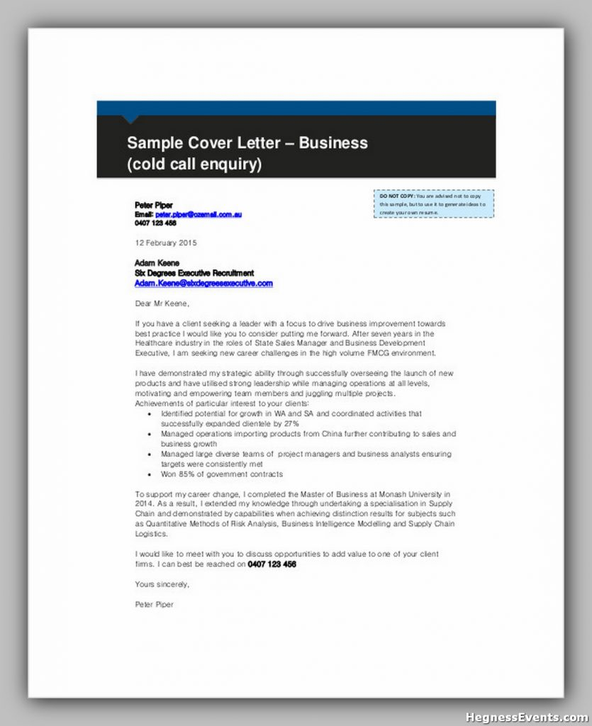 Business Cold Call Enquiry Letter