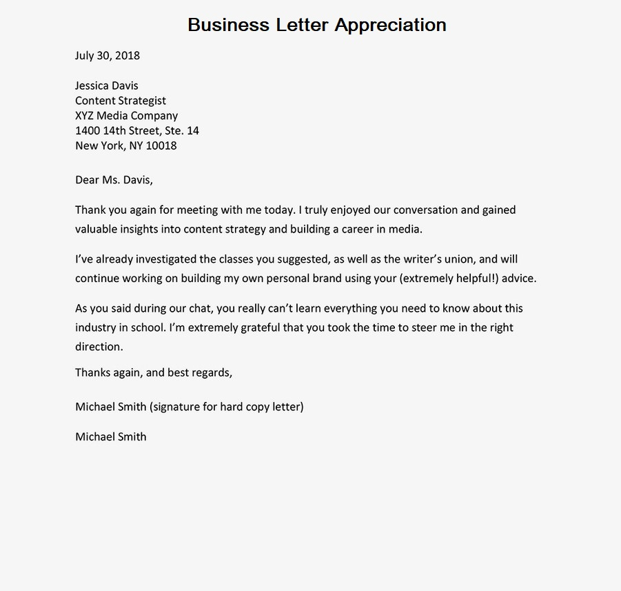 Business Letter Appreciation