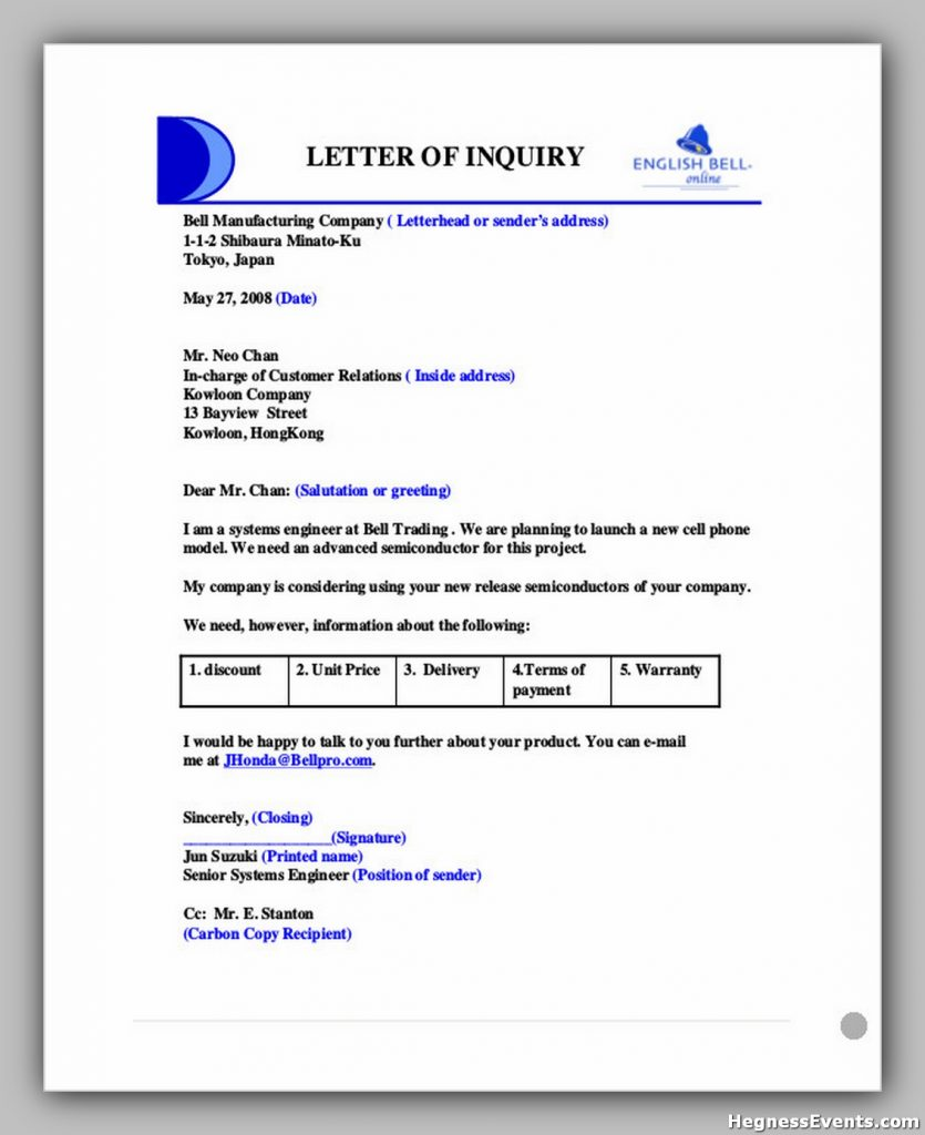 Business Product Enquiry Letter