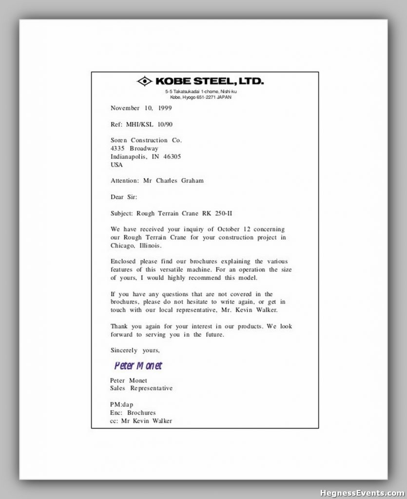 Business Sales Enquiry Letter