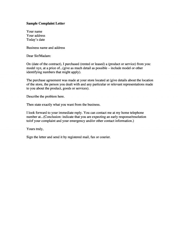 Customer Complaint Letter PDF