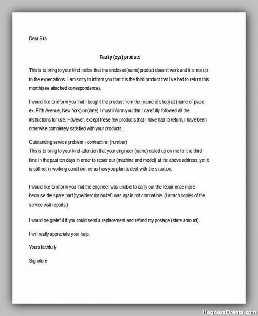 Customer Complaint Letter Poor Services Template1