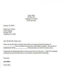 Employee Resignation Letter 01
