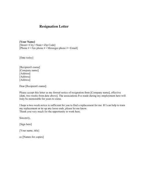 Employee Resignation Letter 03