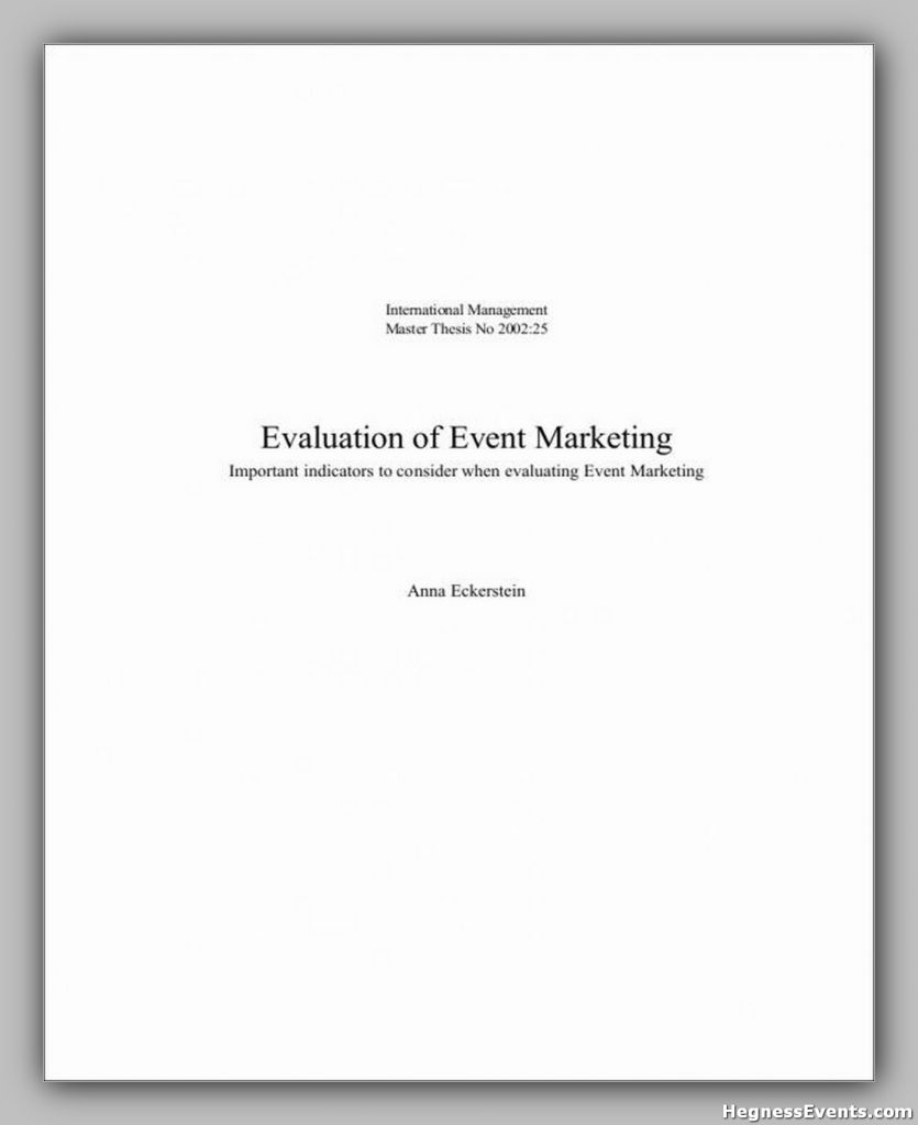 Event Marketing Evaluation Sample