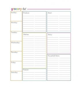 Grocery list template 02