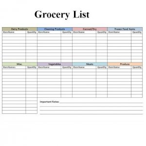 Grocery list template 06