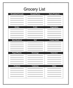 Grocery list template 10