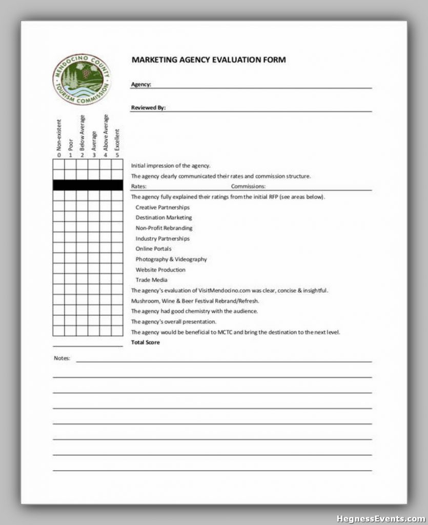 Marketing Agency Evaluation Form Template