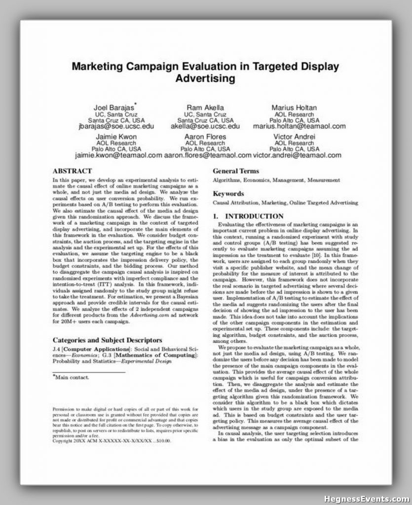 Marketing Campaign Evaluation in Targeted Display Advertising