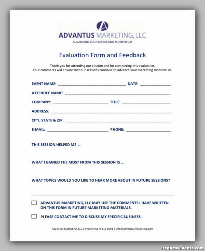 Marketing Evaluation Form and Feedback Template