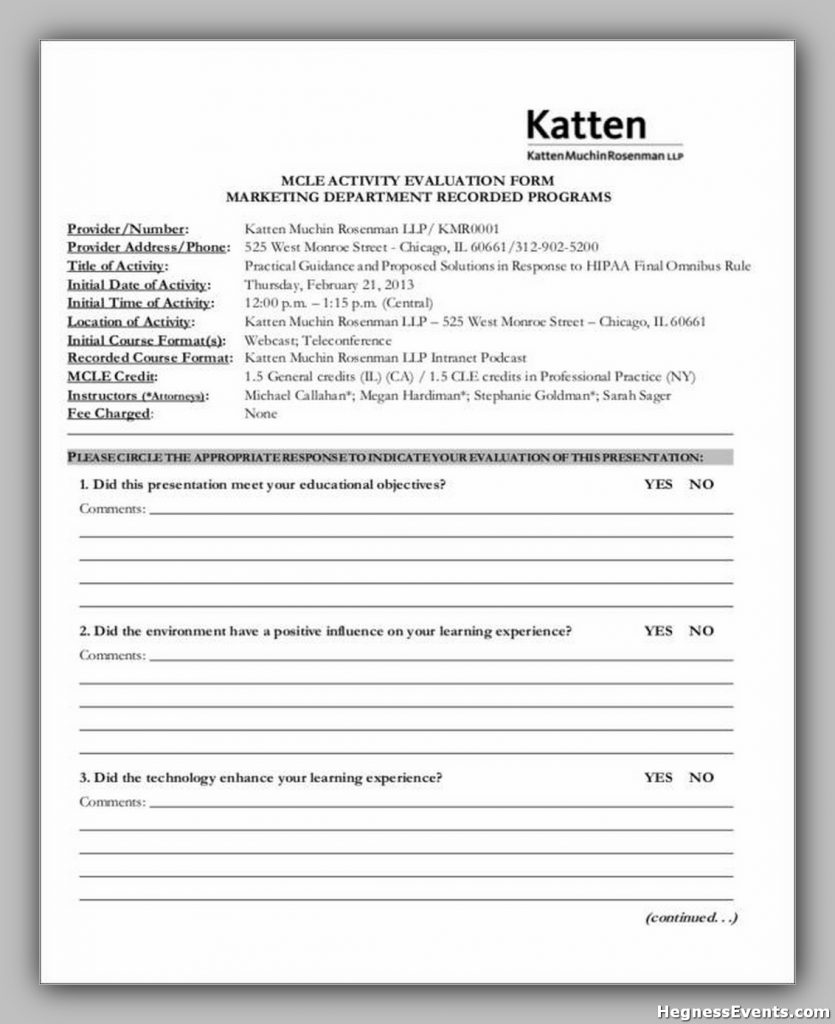 Marketing Program Evaluation Form Sample