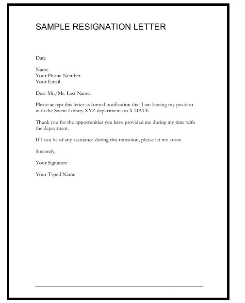 Resignation Letter Sample 01
