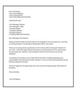 Resignation letter template 03