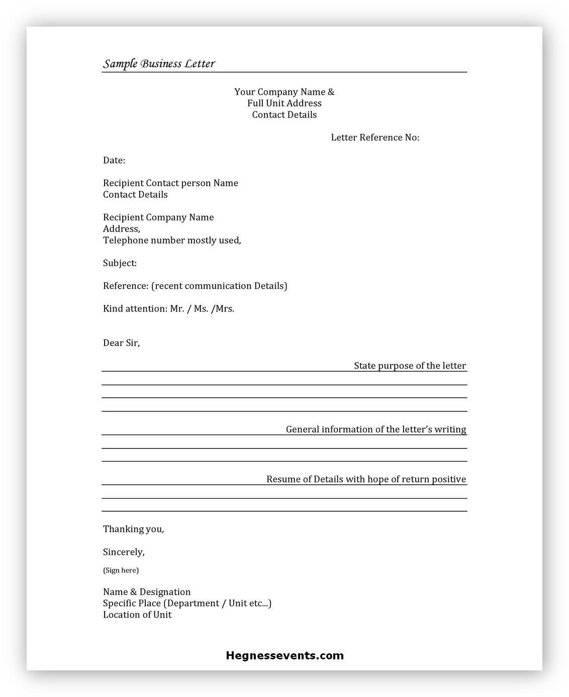 Sample Business Letter 01