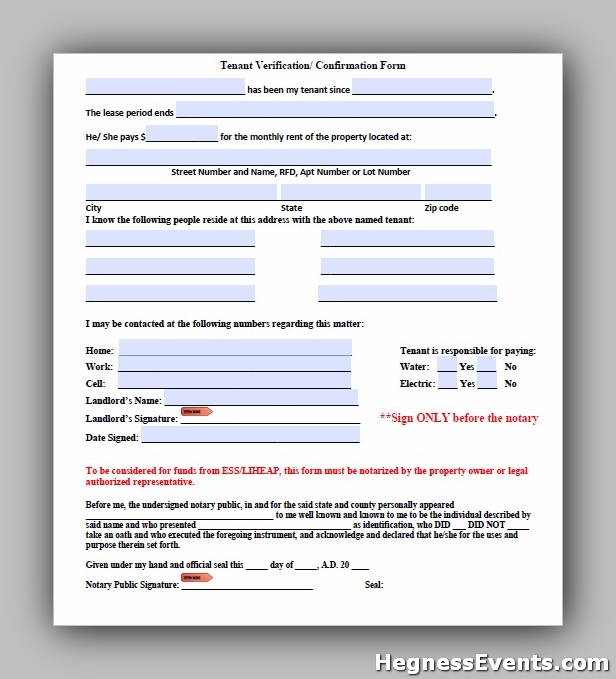 Tenant Verification Form 9