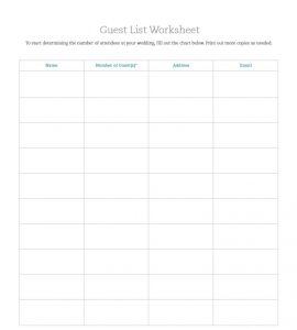 Wedding Guest List Worksheet