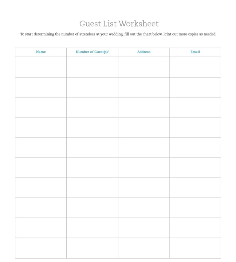 Wedding Guest List Worksheet