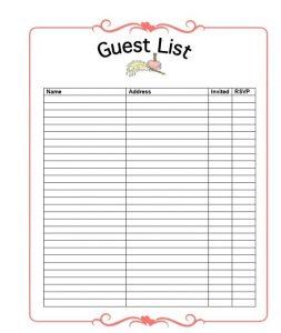 Wedding Planner Guest List