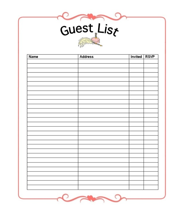 Wedding Planner Guest List