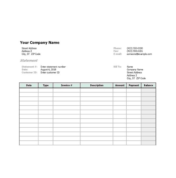billing statement template word